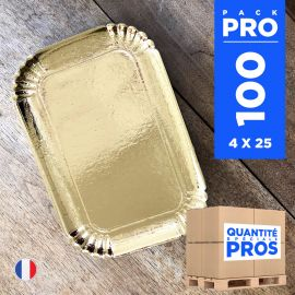 100 Plateaux carton or 28 cm x 19 cm. Recyclables .