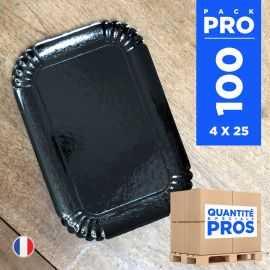 100 Plateaux carton noir 28 cm x 19 cm. Recyclables.