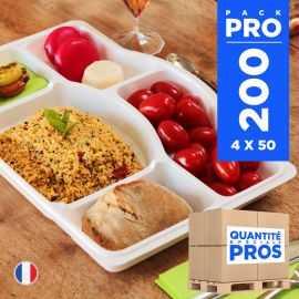200 Plateaux repas 5 cases. Recyclables - Réutilisables.