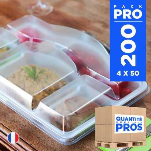 200 Plateaux repas 5 cases + couvercle. Recyclables - Réutilisables.
