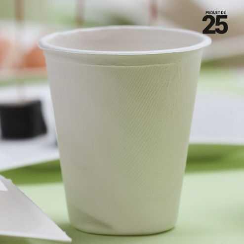 Gobelet Bio fibre végétale 25 cl. Compostable. Par 25.