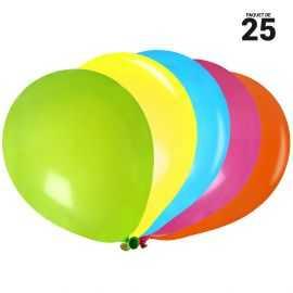 25 ballons gonflables 23 cm multicolores