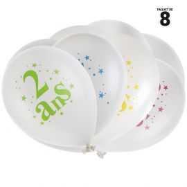 8 ballons gonflables 23 cm joyeux anniversaire 2 ans