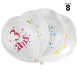 8 ballons gonflables 23 cm joyeux anniversaire 3 ans