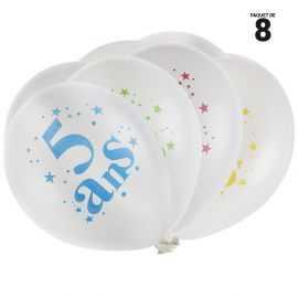 8 ballons gonflables 23 cm joyeux anniversaire 5 ans