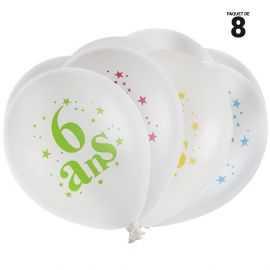 8 ballons gonflables 23 cm joyeux anniversaire 6 ans