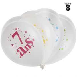 8 ballons gonflables 23 cm joyeux anniversaire 7 ans