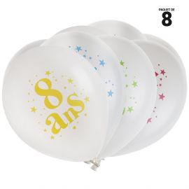 8 ballons gonflables 23 cm joyeux anniversaire 8 ans