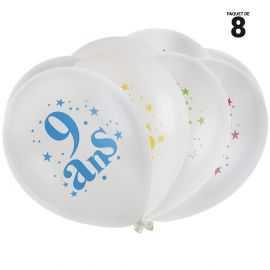 8 ballons gonflables 23 cm joyeux anniversaire 9 ans