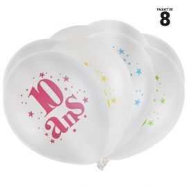 8 ballons gonflables 23 cm joyeux anniversaire 10 ans