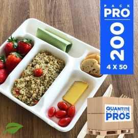 200 Plateaux repas 5 cases. Biodégradables, compostables.