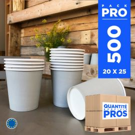 500 Gobelets gris 21 cl. Carton recyclable.