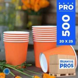 500 Gobelets mandarine 21cl Carton recyclable
