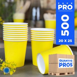 500 Gobelets jaunes 21cl. Carton recyclable