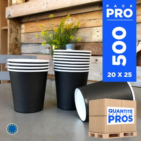 500 Gobelets noirs 21 cl. Carton recyclable