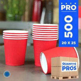 500 Gobelets rouges 21cl Carton recyclable
