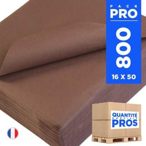 800 Serviettes 40 cm x 40 cm chocolat. Non-tissé.