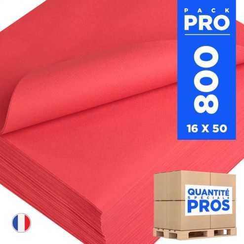 800 Serviettes 40 cm x 40 cm rouges. Non-tissé.