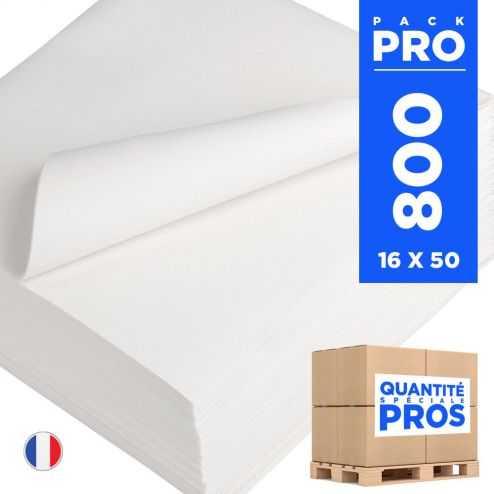 800 Serviettes 40 cm x 40 cm blanches. Non-tissé.