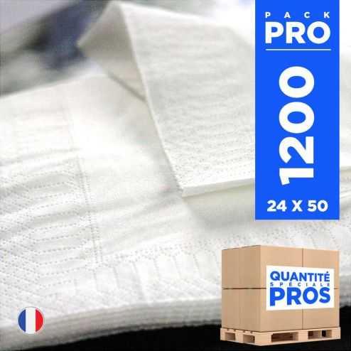1200 Serviettes 33 cm x 33 cm blanches. Ouate 2 plis.
