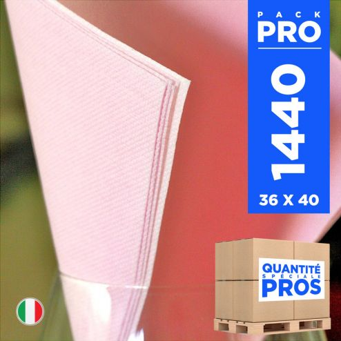 1440 Serviettes 38 cm x 38 cm rose Soft 2 plis.