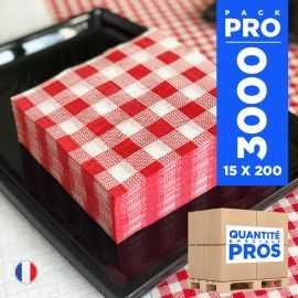 3000 Serviettes 30 cm x 30 cm Vichy rouge ouate 1 pli.