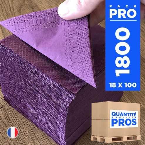 1800 Mini-serviettes 20 cm x 20 cm. Aubergine.