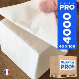 4000 Mini-serviettes 20cm x 20cm Blanches 2 plis