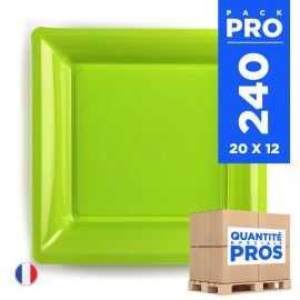 240 Assiettes 16,5 cm. Vert anis. Recyclables - Réutilisables.