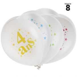 8 ballons à gonfler 23 cm joyeux anniversaire 4 ans