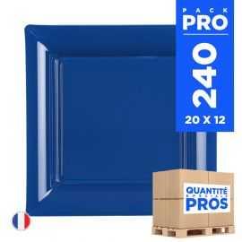 240 Assiettes 16,5 cm. Bleu marine. Recyclables - Réutilisables.