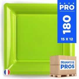 180 Assiettes 21,5 cm. Vert anis. Recyclables - Réutilisables.
