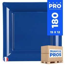 180 Assiettes 21,5 cm. Bleu marine. Recyclables - Réutilisables.