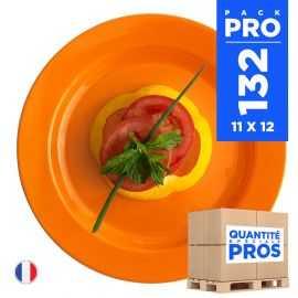 96 Assiettes luxe orange 19 cm Recyclables - Réutilisables.