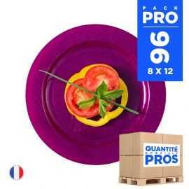 96 Assiettes luxe prune 19 cm. Recyclables - Réutilisables.