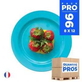 96 Assiettes luxe turquoise 19 cm. Recyclables - Réutilisables.