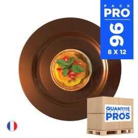 96 Assiettes luxe chocolat 19 cm. Recyclables - Réutilisables.