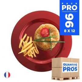 96 Assiettes luxe rouges 19 cm. Recyclables - Réutilisables