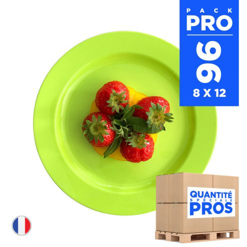 96 Assiettes luxe vertes 19 cm. Recyclables - Réutilisables.