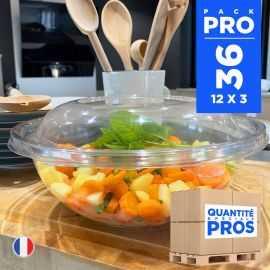 36 Saladiers + couvercles 2,25 litres. Recyclables - Réutilisables
