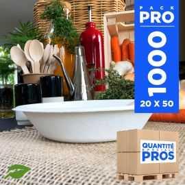 1000 coupelles plates 68 cl biodégradables et compostables.