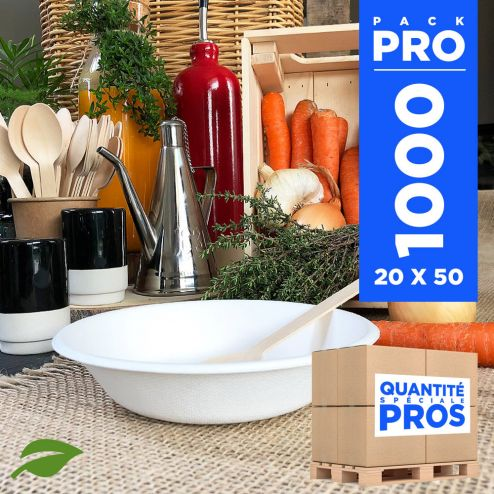 1000 coupelles plates 46 cl biodégradables et compostables.