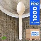 1000 Grandes cuillères bois. Biodégradables 16,5 cm.
