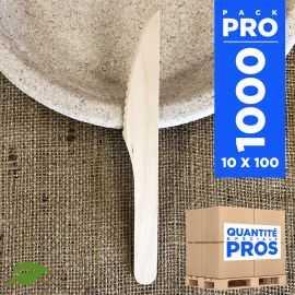 1000 Couteaux bois. Biodégradables 16,5 cm.
