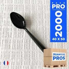 2000 Cuillères dessert luxe noires. Lavables - Réutilisables.
