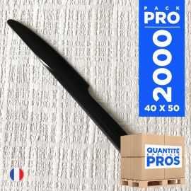 2000 couteaux luxe noirs. Lavables - Réutilisables.
