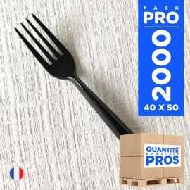 2000 fourchettes luxe noires. Lavables - Réutilisables.