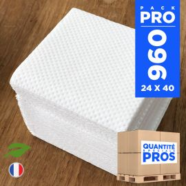960 Mini-serviettes 20cmx20cm Biodégradables blanches