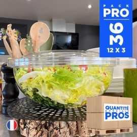 36 Saladiers + couvercles 4,5 litres. Recyclables - Réutilisables