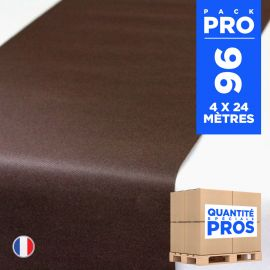 4 chemins de table en intissé chocolat 24 mètres.